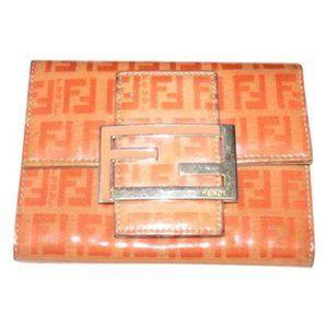Fendi Small F Logo Orange Taupe Patent Wallet